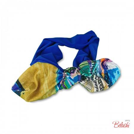 Belushi - Fascia azzurra fiocco fantasia