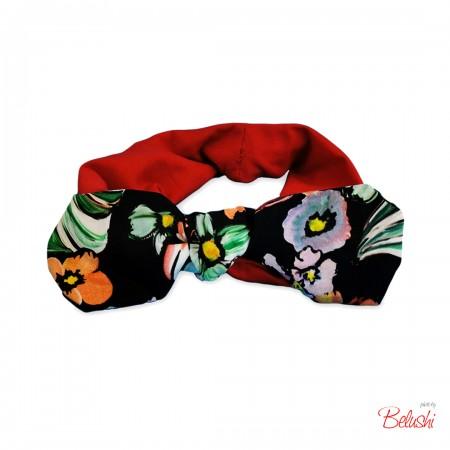 Belushi - Fascia rossa fiocco nero con fiori