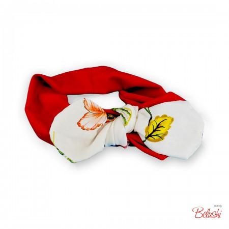 Belushi - Fascia rossa fioco bianco con fiori