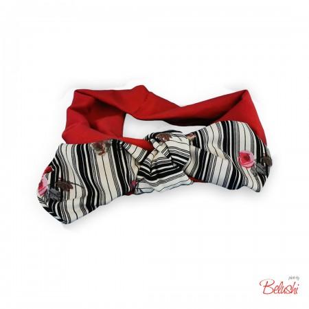 Belushi - Fascia rosso fiocco B&N con roselline