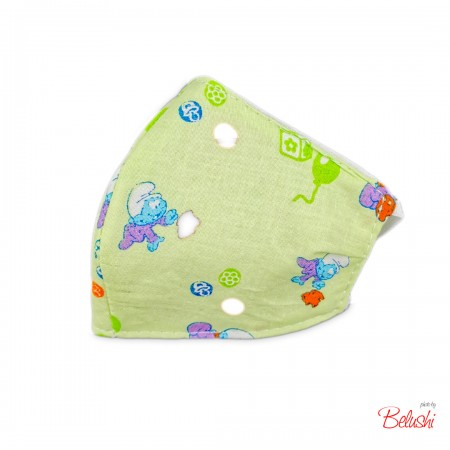 Mascherina Belushi - verde puffi, bambino
