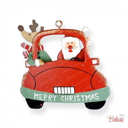 Babbo Natale con renna in auto, decorazione Natale