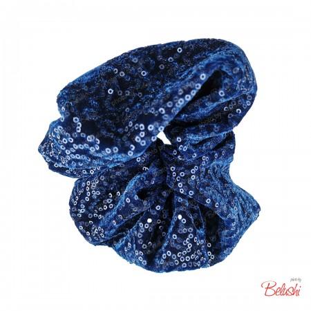Belushi - Elastico per capelli, blu paillettes