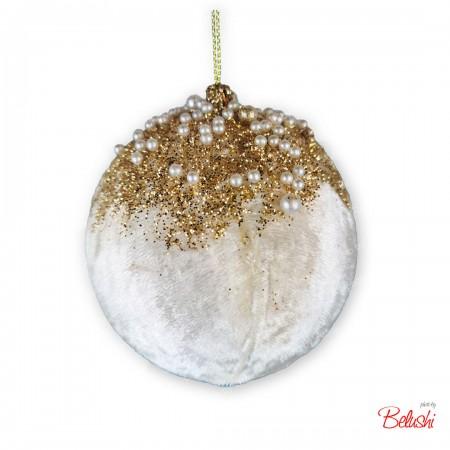 Sfera in velluto bianca-oro con perle 15cm, decorazione Natale
