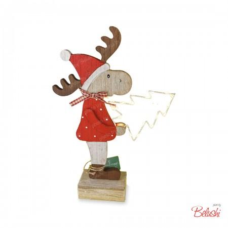 Renna piccola, con albero di Natale illuminato