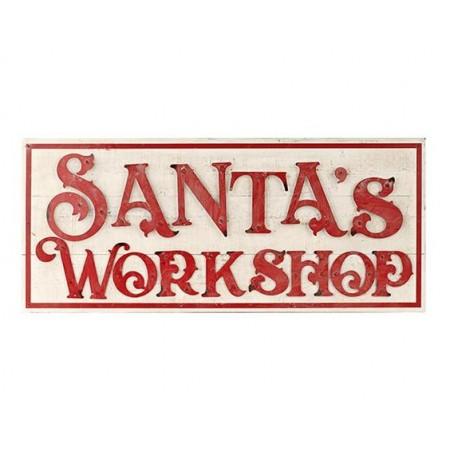 """Quadro """"Santa's workshop"""" in legno, decorazione Natale"""