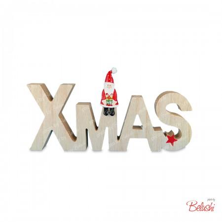 Scritta XMAS in legno, decorazione Natale
