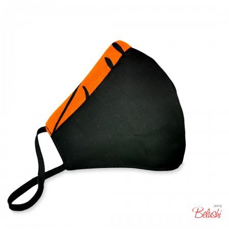 Mascherina Belushi - nera bordo arancio maculato, donna