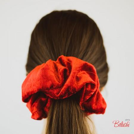 Belushi - Elastico per capelli in ciniglia, rosso