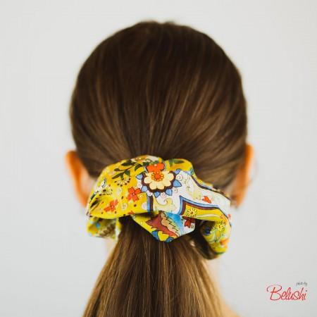 Belushi - Elastico per capelli, giallo ocra con fiori