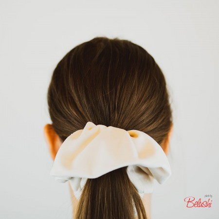 Belushi - Elastico per capelli, velluto panna