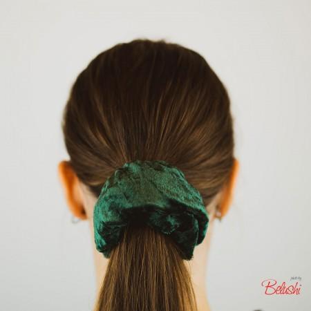 Belushi - Elastico per capelli in ciniglia, verde