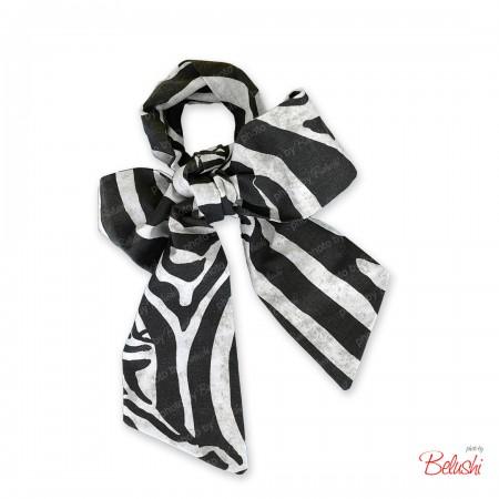 Belushi - Fascia zebrata bianco/nero in cotone