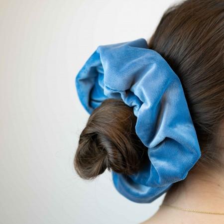 Belushi - Elastico per capelli, velluto celeste