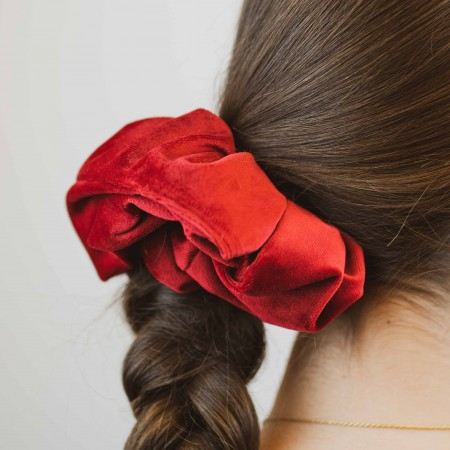 Belushi - Elastico per capelli, velluto rosso