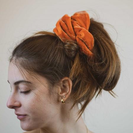 Elastico per capelli, velluto arancione