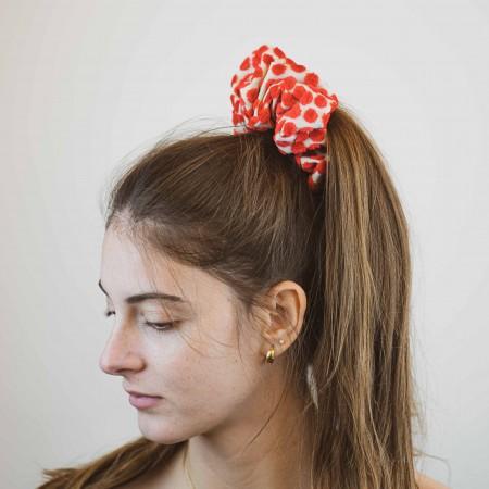 Belushi - Elastico per capelli, operato effetto pois a rilievo colore rosso