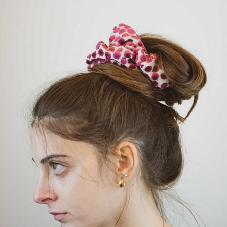 Elastico per capelli, operato effetto pois a rilievo colore fucsia