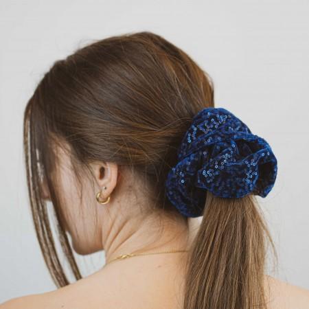 Belushi - Elastico per capelli in ciniglia, blu paillettes