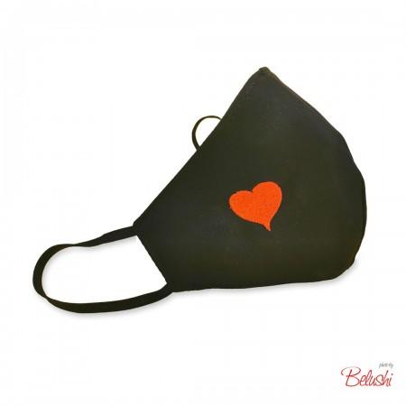 Mascherina Belushi - nera cuore rosso, donna